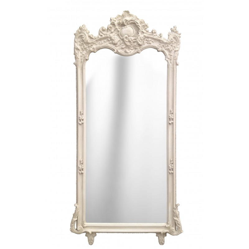 Grand miroir baroque rectangulaire beige patin for Miroir rectangulaire