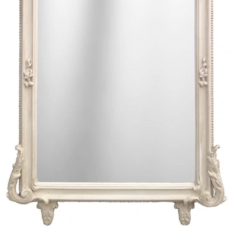 Grand Miroir Baroque Rectangulaire Beige Patin