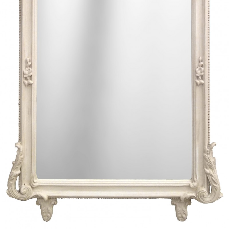 Grand miroir rectangulaire baroque beige patin for Grand miroir rectangulaire
