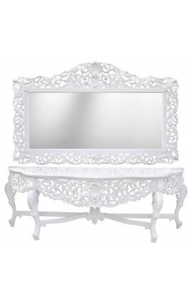 Enorme console avec miroir de style baroque en bois laqué blanc et grand miroir