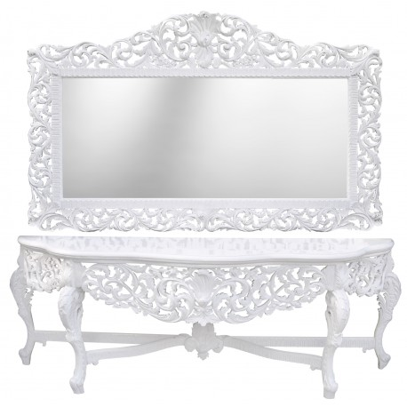 Very big console baroque with mirror white lacquered wood for Miroir rectangulaire baroque