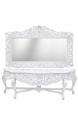 Very big console Baroque with mirror white lacquered wood