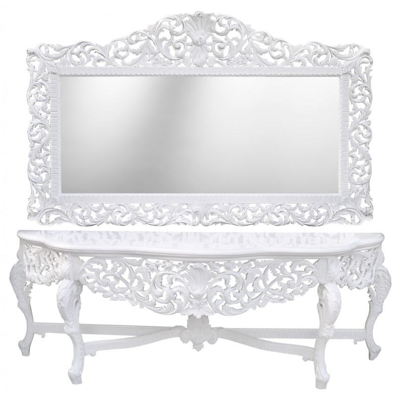 Very big console baroque with mirror white lacquered wood for Grand miroir blanc baroque