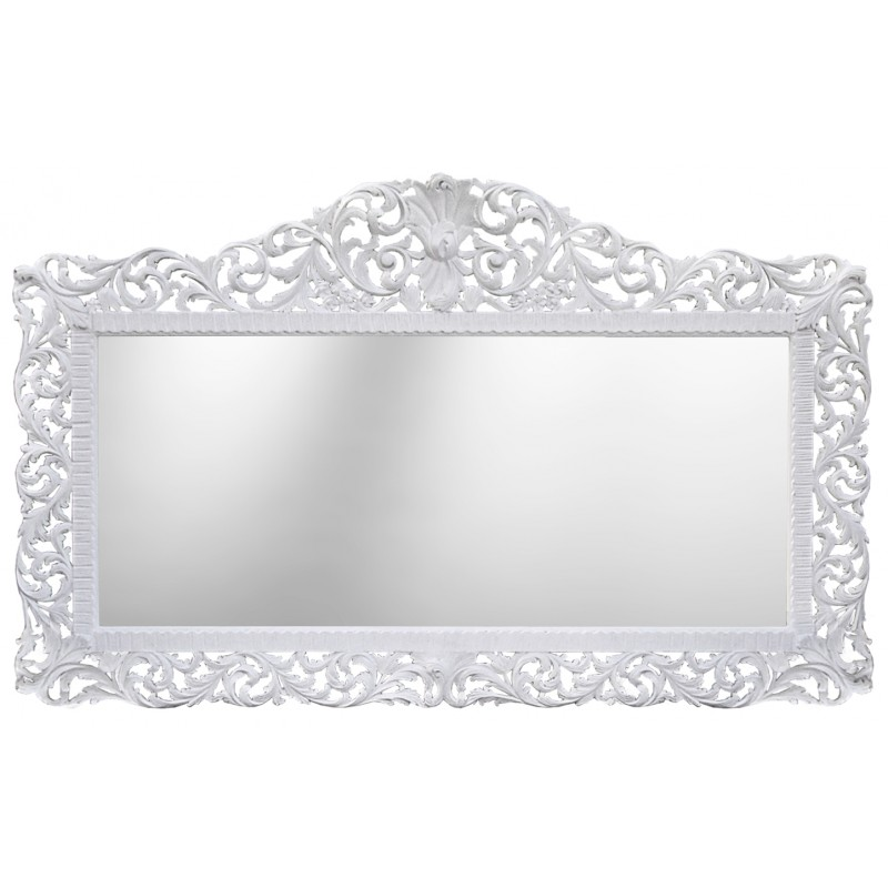 Very big console baroque with mirror white lacquered wood for White baroque style mirror
