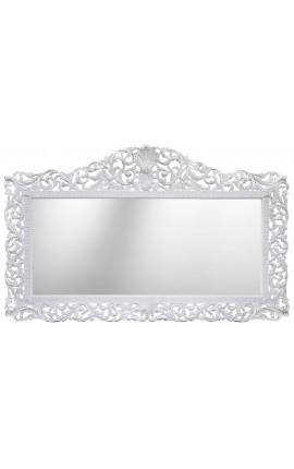Enorme miroir de style baroque en bois laqué blanc