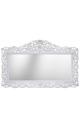 Huge Baroque mirror lacquered white wood