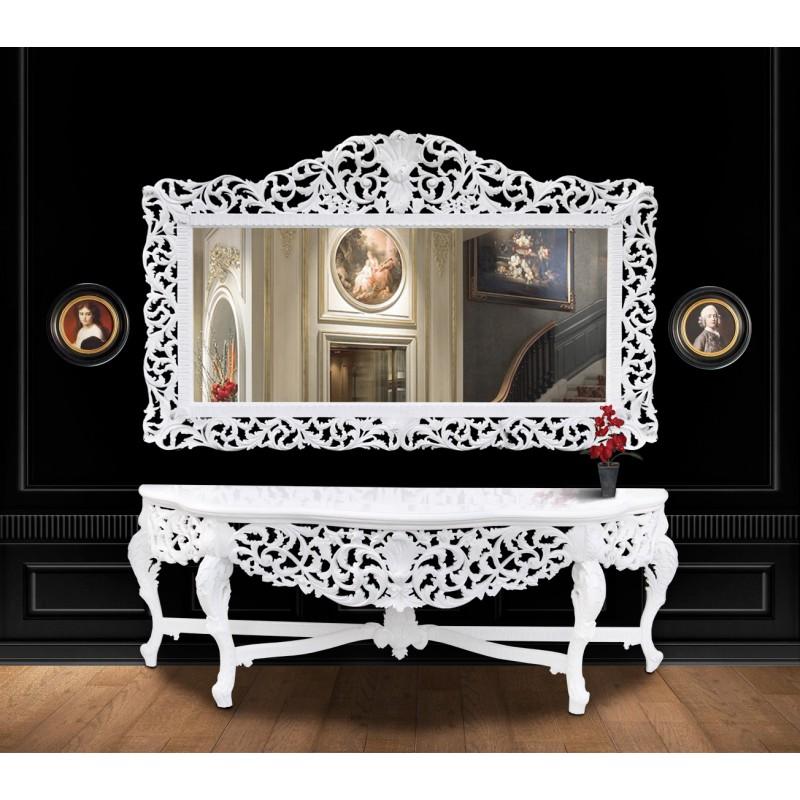 Enorme console avec miroir de style baroque en bois laqu for Console avec miroir