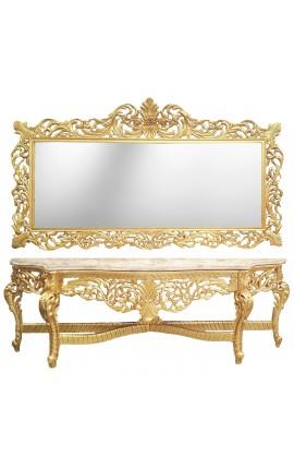 Enorme console avec miroir de style baroque en bois doré et marbre beige