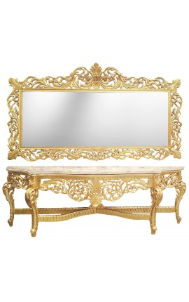 Very big console with mirror in gilded wood Baroque and beige marble