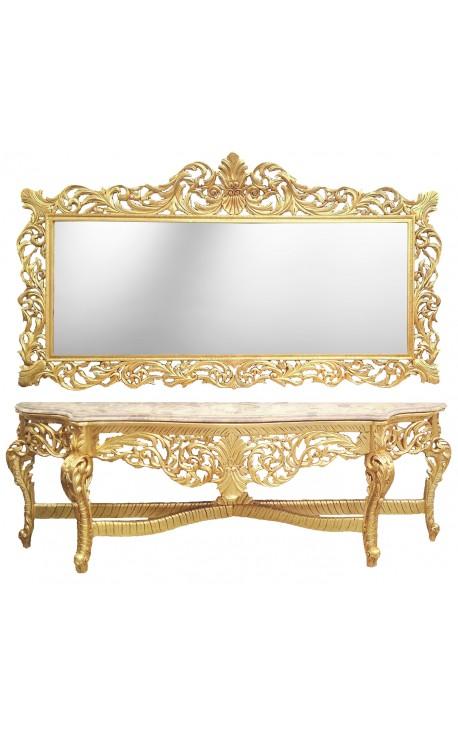 enorme console avec miroir de style baroque en bois dor marbre beige. Black Bedroom Furniture Sets. Home Design Ideas