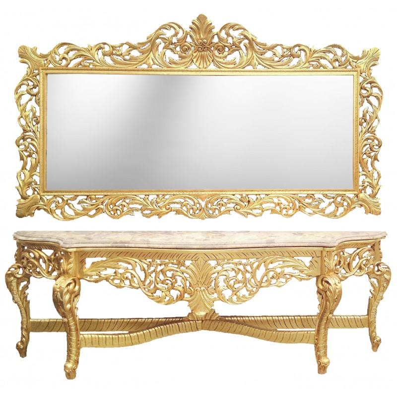very big baroque console with mirror gilt wood and beige marble. Black Bedroom Furniture Sets. Home Design Ideas