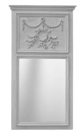 Trumeau Louis XVI bois gris clair patiné vieilli