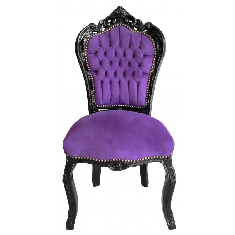 Chaise de style baroque rococo tissu velours mauve et bois for Chaise en tissu noir
