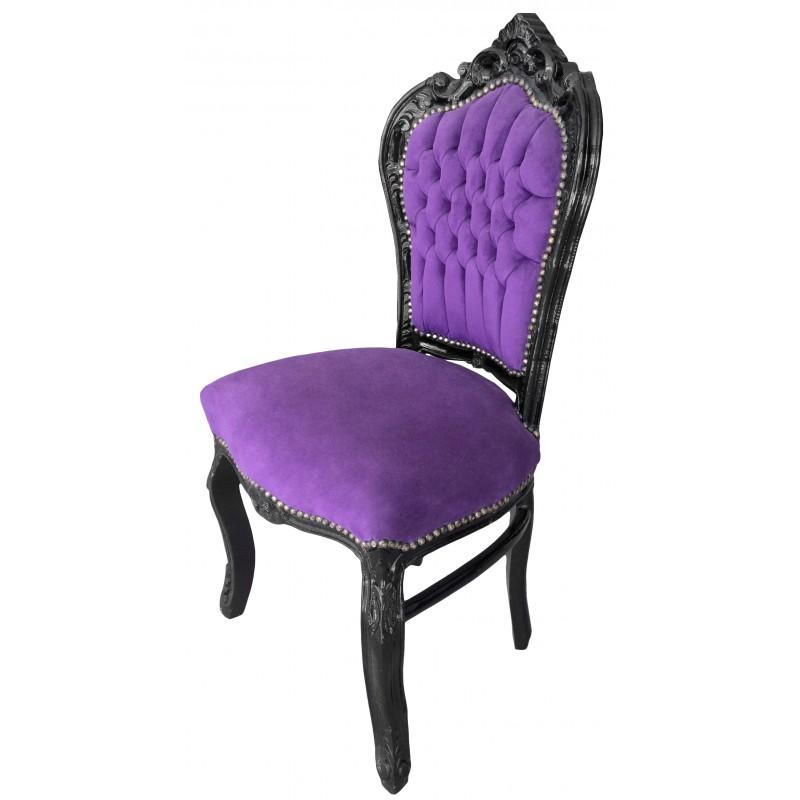 Chaise de style baroque rococo tissu velours mauve et bois - Chaise baroque noir ...