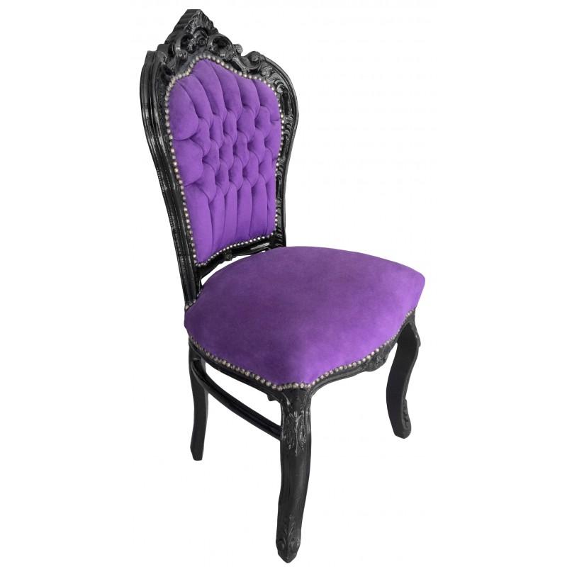 Chaise de style baroque rococo tissu velours mauve et bois for Chaise bois noir