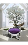 Roman bench (or Dagobert) purple fabric and silvered wood