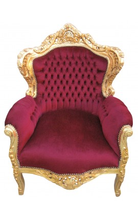 Grand fauteuil de style baroque tissu velours rouge bordeaux et bois doré