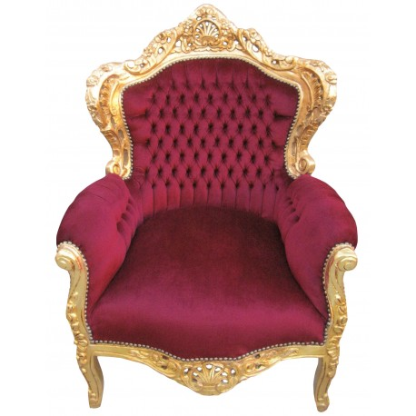 grand fauteuil de style baroque velours bordeaux et bois dor. Black Bedroom Furniture Sets. Home Design Ideas