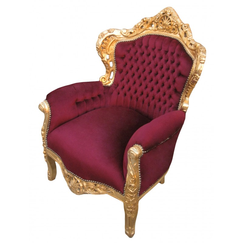 Big baroque style armchair burgundy velvet and gold wood