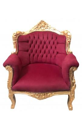 """Fauteuil """"princier"""" de style Baroque velours rouge Bordeaux et bois doré"""