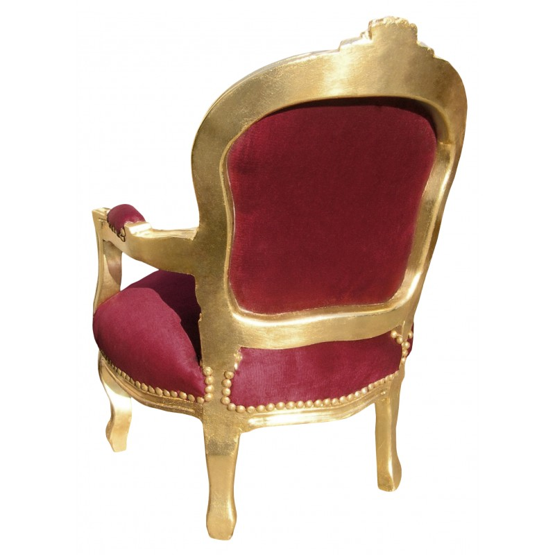 fauteuil baroque enfant velours rouge bordeaux et bois dor. Black Bedroom Furniture Sets. Home Design Ideas