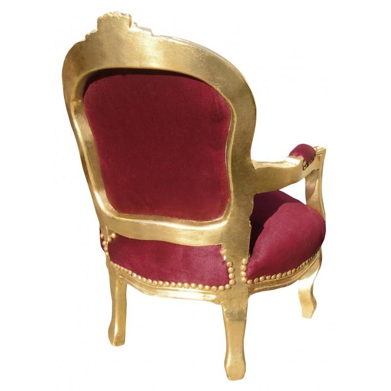 Fauteuil baroque enfant velours rouge bordeaux et bois dor - Fauteuil rouge enfant ...