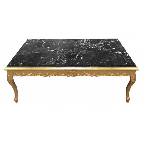 large coffee table baroque style gilt wood and black marble. Black Bedroom Furniture Sets. Home Design Ideas