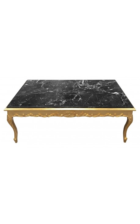Large coffee table Baroque style gilt wood and black marble