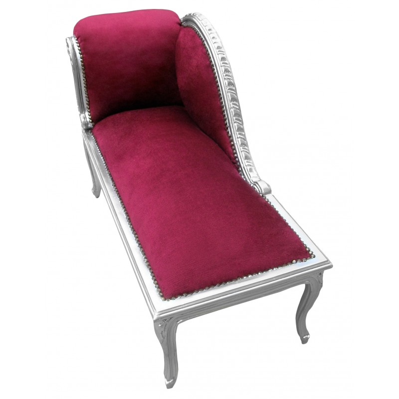 Louis xv chaise longue burgundy velvet fabric and silver wood for Burgundy chaise lounge