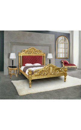 Baroque bed red burgundy fabric with rhinestones and gold wood
