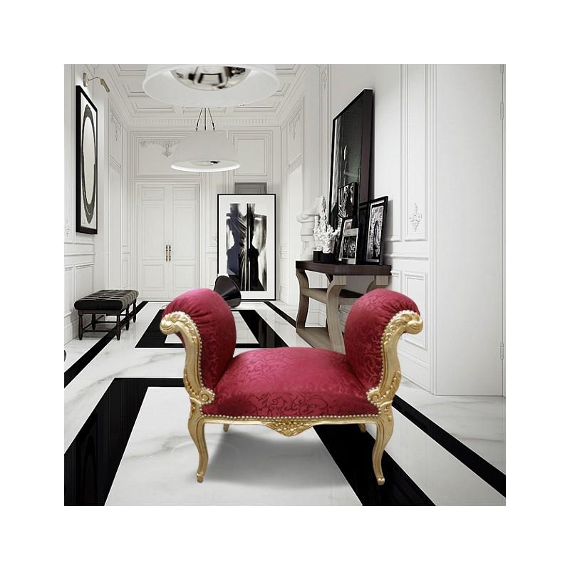 banquette baroque de style louis xv satin rouge et bois dor. Black Bedroom Furniture Sets. Home Design Ideas