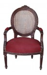 Armchair Louis XVI caned style burgundy velvet and mahogany wood color