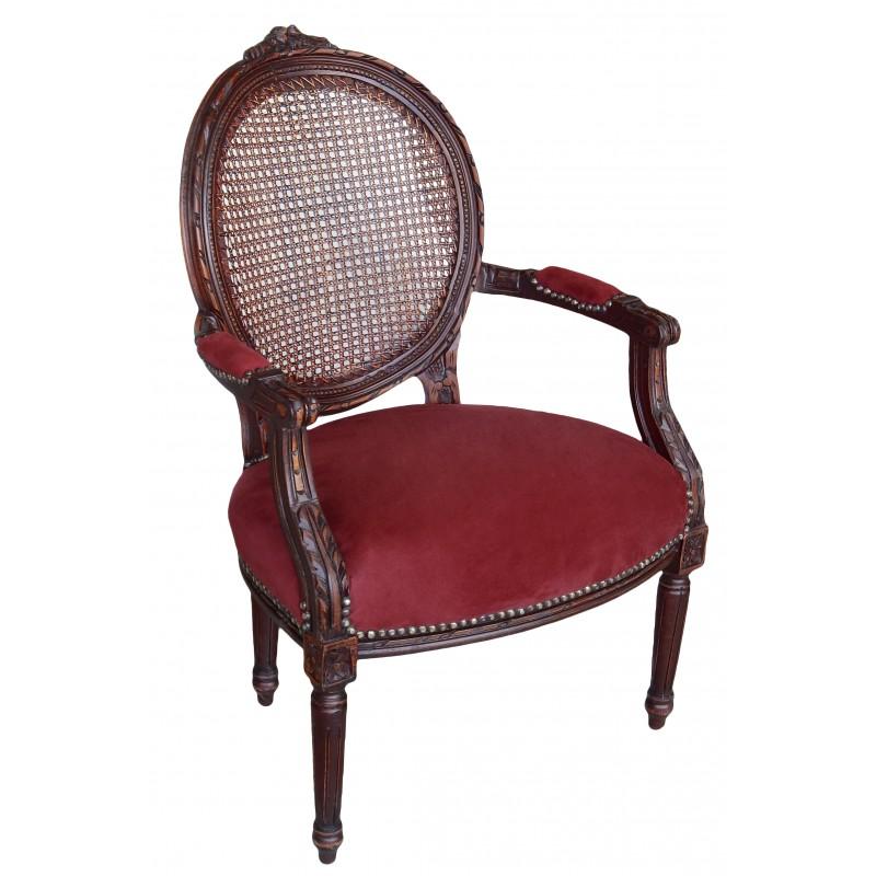 fauteuil de style louis xvi cann velours bordeaux et couleur bois. Black Bedroom Furniture Sets. Home Design Ideas