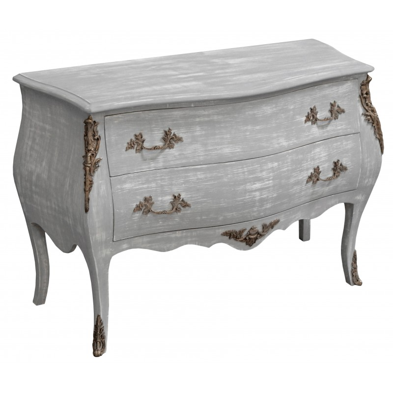 baroque chest of drawers commode of style louis xv grey. Black Bedroom Furniture Sets. Home Design Ideas