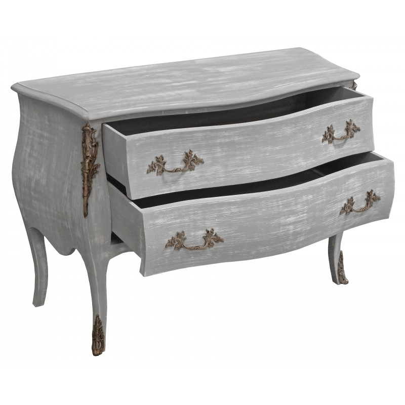 baroque chest of drawers commode of style louis xv grey patinated wood. Black Bedroom Furniture Sets. Home Design Ideas