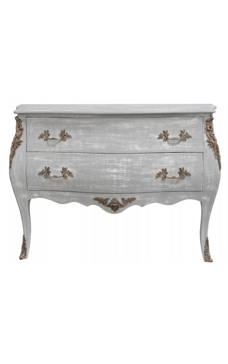 Baroque chest of drawers (commode) of style Louis XV grey patinated wood