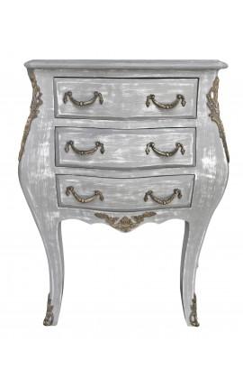 Table de nuit (chevet) commode bois gris patiné avec 3 tiroirs