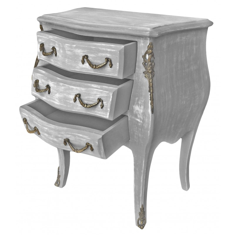 Table de nuit chevet commode baroque en bois gris patin for Table de chevet style baroque