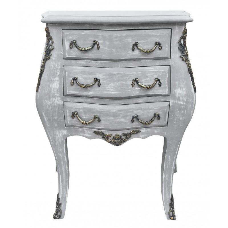 table de nuit chevet commode baroque en bois gris patin. Black Bedroom Furniture Sets. Home Design Ideas