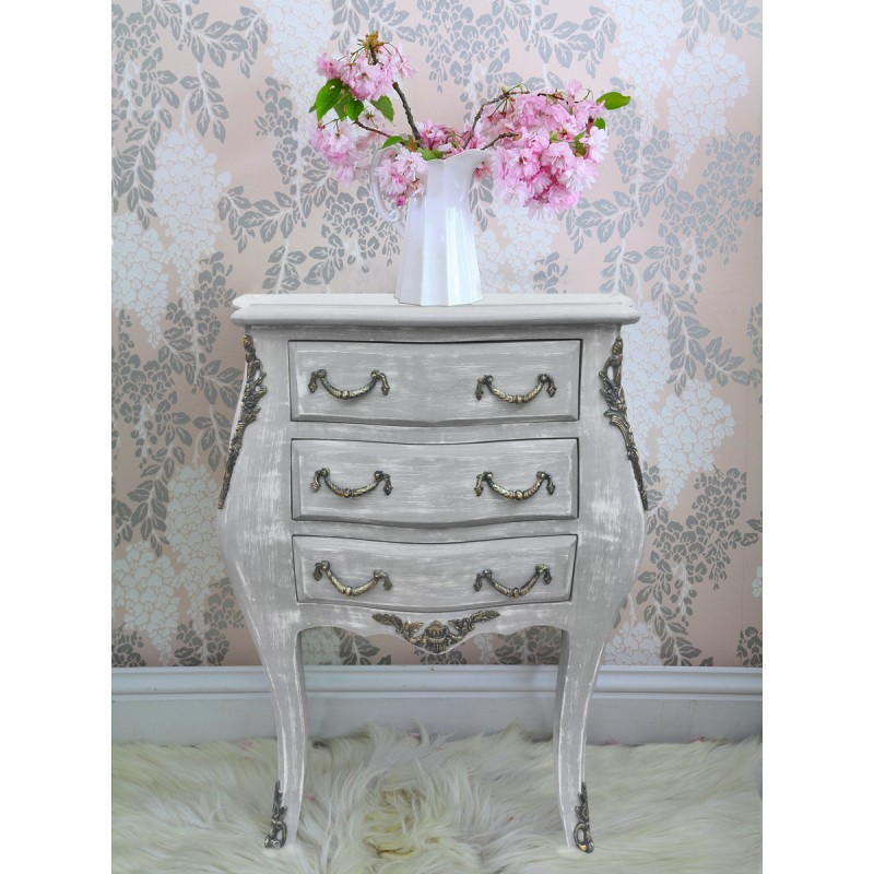 Table de nuit chevet commode baroque en bois gris patin - Table chevet baroque ...