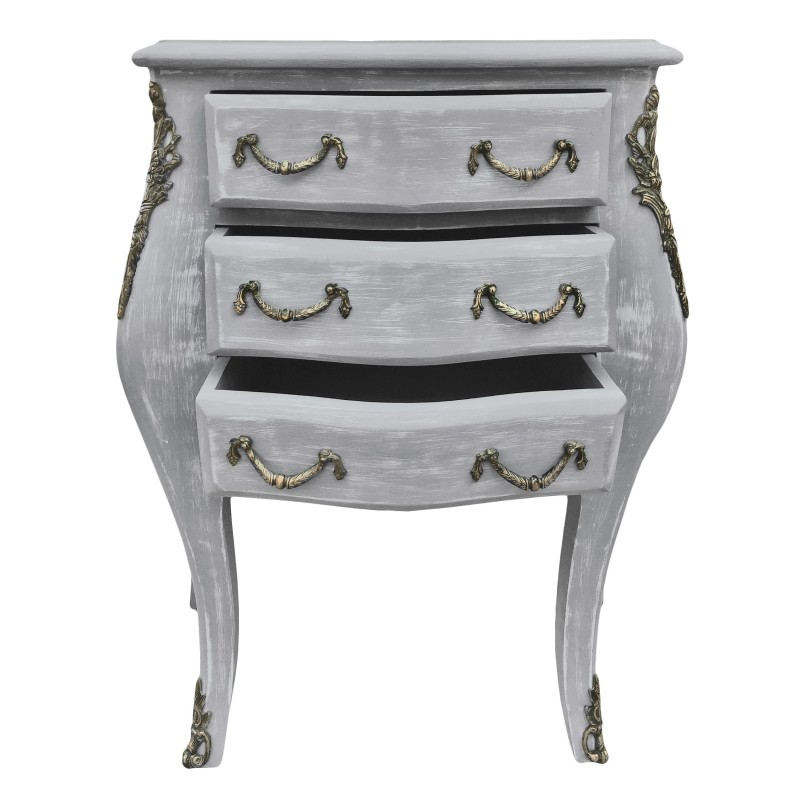 table de nuit chevet commode baroque en bois gris patin. Black Bedroom Furniture Sets. Home Design Ideas