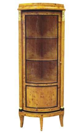 First French Empire style corner display cabinet elm marquetry