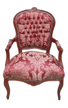 """Fauteuil Louis XV de style baroque tissu satiné rouge aux motifs """"Gobelins"""" et bois acajou"""