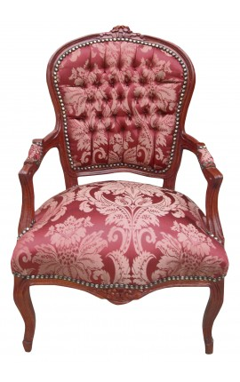 """Baroque armchair of Louis XV style with red satin """"Gobelins"""" pattern and mahogany wood color"""