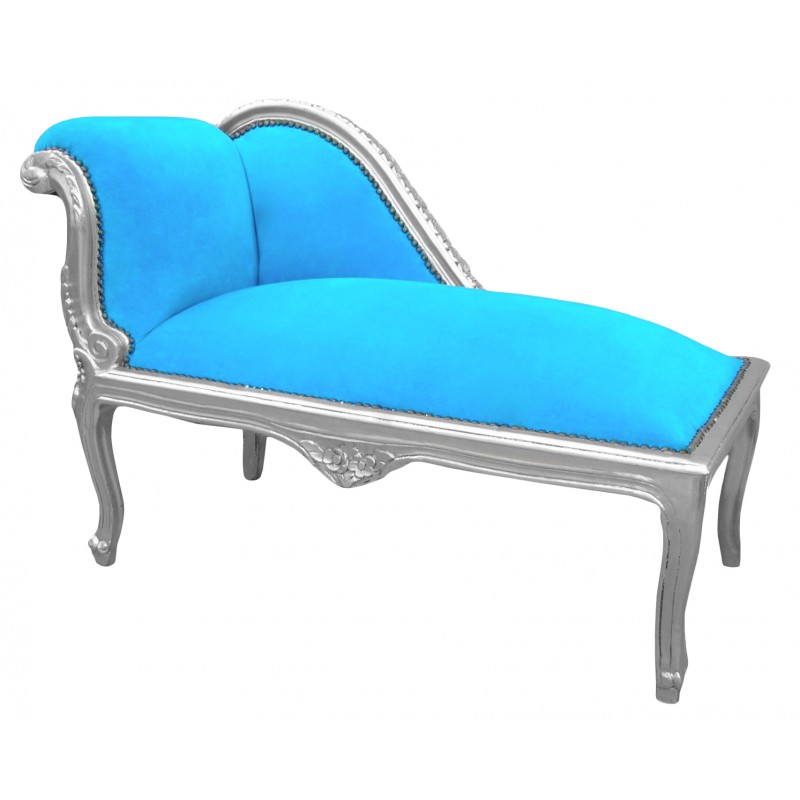 Louis xv chaise longue turquoise blue velvet fabric and for Chaise baroque
