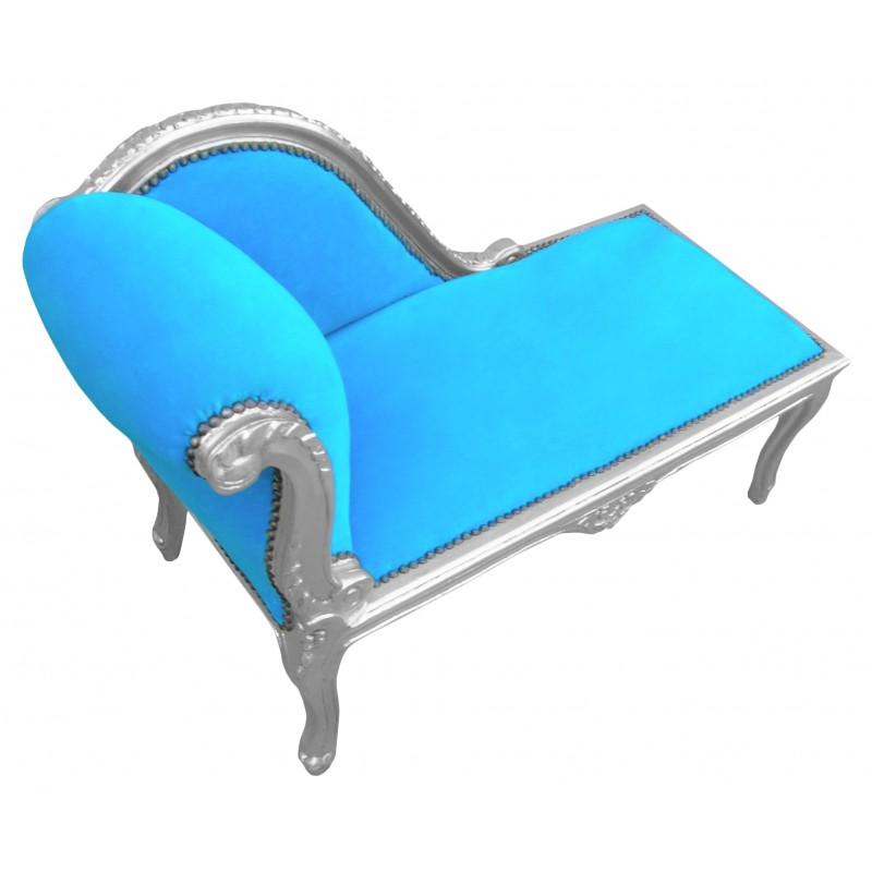 Louis xv chaise longue turquoise blue velvet fabric and for Chaise longue bleu turquoise
