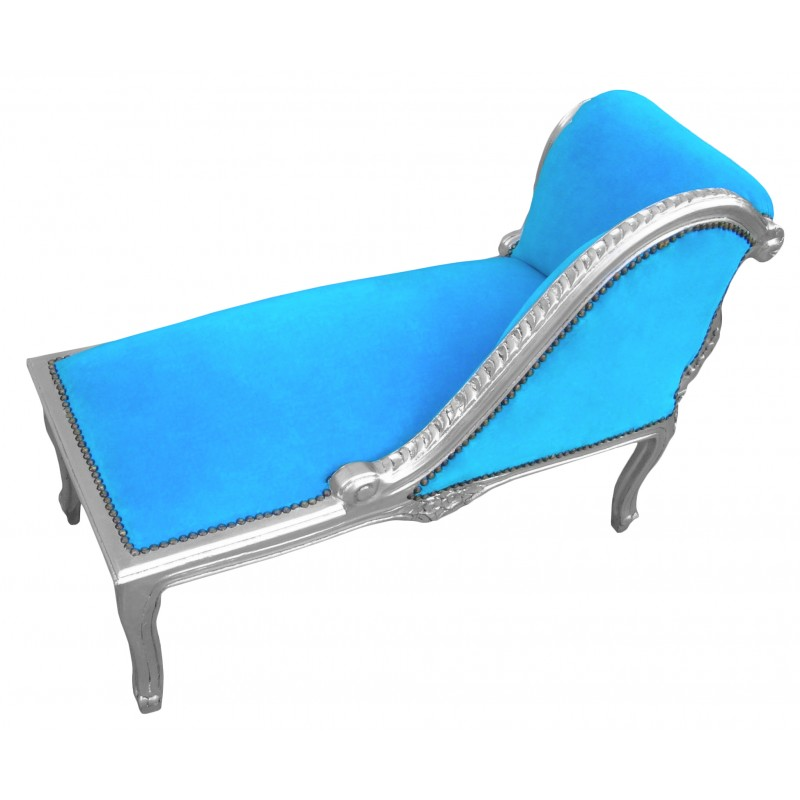 louis xv chaise longue turquoise blue velvet fabric and