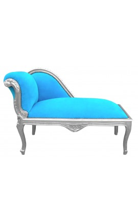 Baroque chaise longue turquoise velvet fabric and silver wood