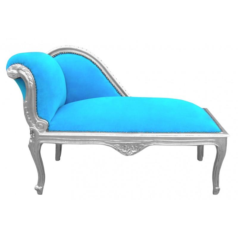 m ridienne de style louis xv tissu en velours bleu. Black Bedroom Furniture Sets. Home Design Ideas