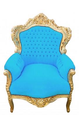 Grand fauteuil de style baroque tissu velours bleu turquoise et bois doré